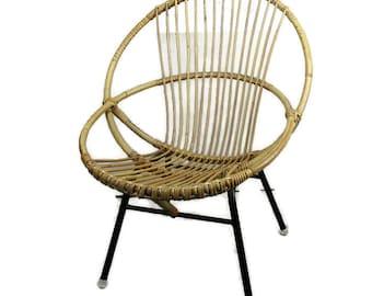 Mid Century Modern Rattan Round Hoop Lounge Chair Rohé Noordwolde Vintage HTF