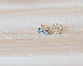 3mm mystic topaz stud earrings, natural gemstone stud earring, multi-color earring, rainbow earring stud, small stud earrings
