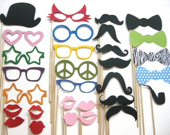 Photo Booth Props - ULTIMATE Collection 2 -  30 piece set - Awesome Photobooth Props