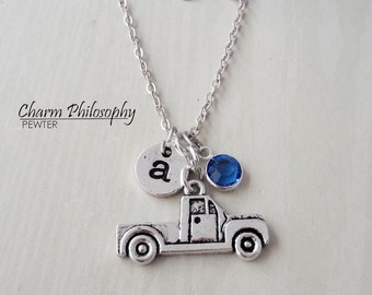 Pickup Truck Necklace - Antique Silver Truck Jewelry - Monogram Personalized Initial and Birthstone