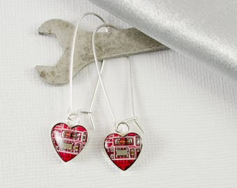 Circuit Board Earrings Small Red Hearts, Sterling Silver Dangle Earrings, Wearable Technology, Geek Earrings Gift, Geeky Valentines Day Gift