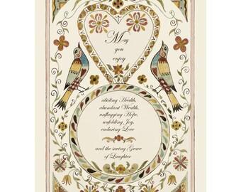 """Folk art frameable greeting card print, """"Blessing"""""""