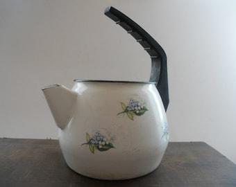 Soviet Vintage enamel tea kettle White Blue floral tea kettle USSR era enamelware Farmhouse decor