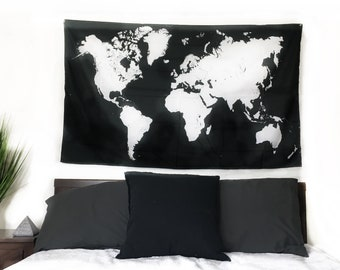 Black and white world map etsy new world map tapestry 60x35 inches minimalist blackwhite gumiabroncs Gallery