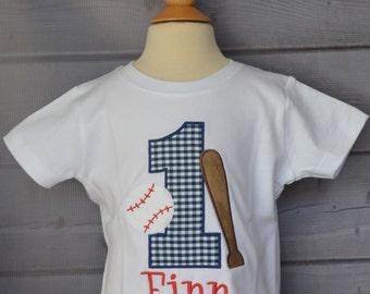 Personalized Birthday Baseball & Bat Sports Applique Shirt or Bodysuit Girl or Boy
