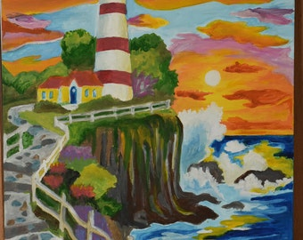 Lighthouse on a Cliff Painting