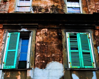 Vieux Carré Facade - New Orleans, Louisiana Photograph print picture Brick Wall Worn Weathered Rust Blue Brown White