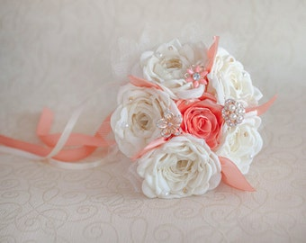 Bridesmaids Brooch bouquet. Ivory and Coral Brooch Bouquet Quinceanera keepsake bouquet