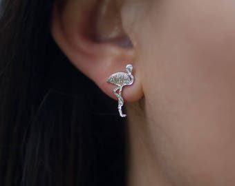 Stud | free shipping | earring | silver | minimalistic | flamingo