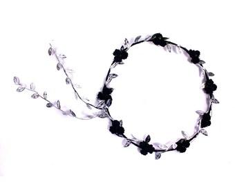 Black and Silver Rose Flower Crown, Black Floral Garland, Wedding Headpiece, Festival Headband, New Year's Headband, Bridesmaid Flower Crown