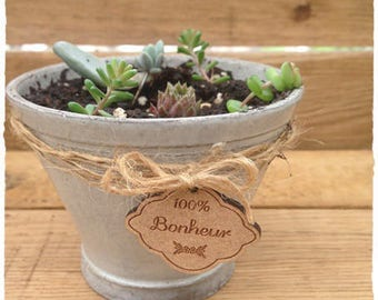 a cute little tag made from wood with engraving * 100% happiness * 2.20 cm height