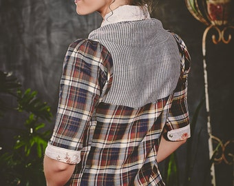 Womens bow blouse. Retro inspired blouse with contrasting patterns of plaid, flowers, and stripes. Summer button-front shirt, custom sized.