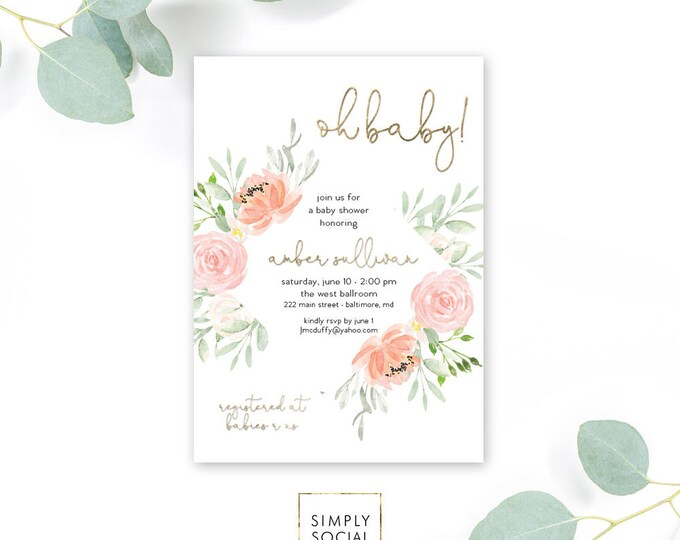 Pink Floral Baby Shower Invitation - Garden Shower - Oh Baby! Peony Roses Blush Pink Invitation Watercolor faux gold foilPrintable