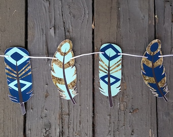 Tribal Party Garland, Feather Garland, Native American Garland, Tribal Party Banner, Wild One