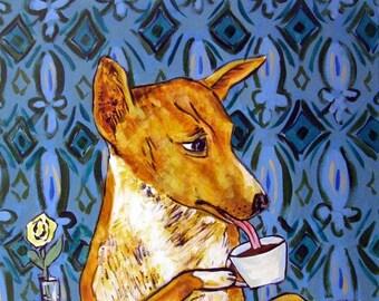 25% off basenji art - Basenji at the Coffee Shop cafe dog signed art print