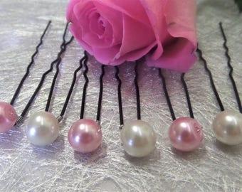 Hair pins, wedding hair pins Pearl Pink and ivory bridal hair accessory