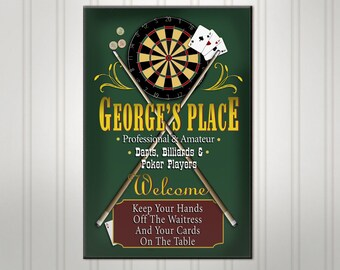 """Large Personalized Game Room Bar Sign, Green or Burgundy Man Cave Pub Sign, Custom Beer Sign, Man Cave Bar Decor, 18"""" x 24"""""""