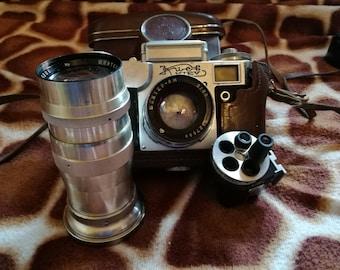 Camera Kiev + Lenses Jupiter 11 8m and viewfinder Russian photo camera set Soviet lens Photography art Photogapher gift Original cases