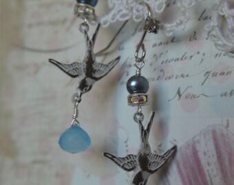 Little Bird Blue swallow earrings with blue chalcedony drops