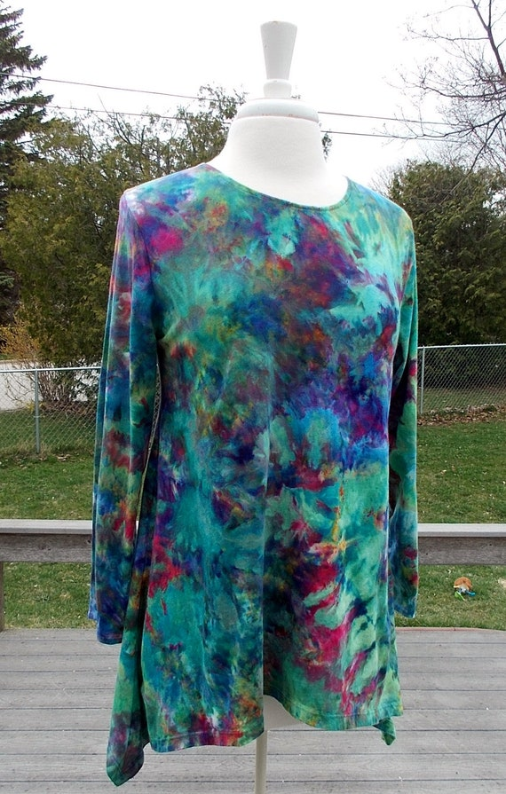 Hanky-hem tunic Ice dye tie dye Women's  Large Long Sleeve Cotton Shirt
