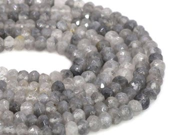6mmFL07 6mm Faceted Gray quartz roncelle loose gemstone beads 16""