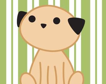 Cute Puppy Dog Pug with Green Striped Background Art Print, Nursery Decoration