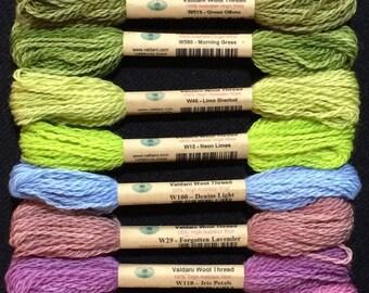 Valdani 100% Australian Virgin Wool 12 Color Thread Collection Sz 8 Hint of Spring