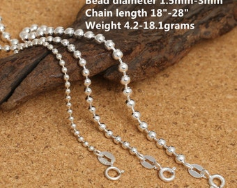 "Sterling Silver Bead Chain, Sterling Silver Bead Ball Chain, 925 Silver Bead Chain Necklace 1.5mm 2mm 3mm 18 20 22 24 26 28"" Inches - LA456"