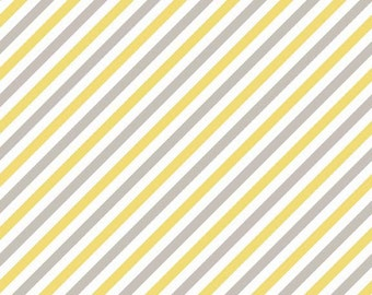 CLOSEOUT SALE Oh Boy Gray and Yellow Stripes by Riley Blake 1 Yard