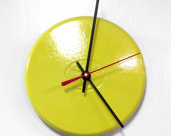 Recycled Yellow Wall Clock made from a 1992 - 1995 Toyota Paseo Center Cap