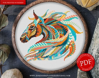 Mandala Horse Cross Stitch Pattern for Instant Download *P204 |Horse Cross-Stitch|Mandala Cross-Stitch|Counted Cross-Stitch