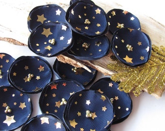 Handmade fabric sew on flower appliques (15pcs)- MIDNIGHT BLUE BLOSSOMS