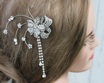 Vintage Inspired Rhinestone Flower Bridal Clip/ Wedding/ Hair Clip