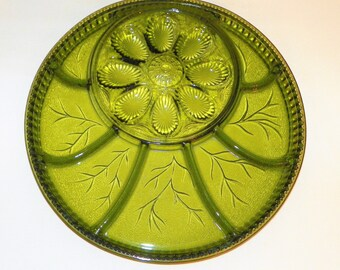 """Indiana Glass Divided Relish Dish Egg Tray, 12 7/8"""" Round Tray, Pebble Leaf Olive Green Platter, Perfect for Cheese Cubes, Crackers,"""