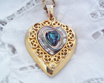 Vintage Abalone Goldtone Filigree Heart Pendant Necklace on Long Chain - Rainbow Mother-of-Pearl Inlaid Shell Necklace - Blue Heart Shaped