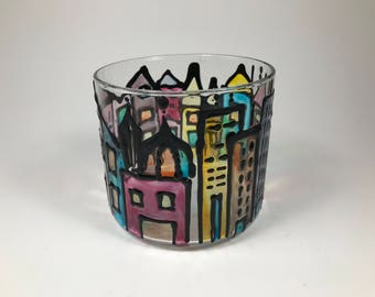 Old city painted glass/hand painted candle holder/european street paint/tea light holder/old street painted glass/multicolored glass/gift