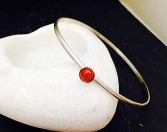 Sterling Silver Bangle Bracelet Gemstone Goldstones Handmade Jewellery UK
