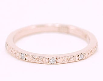 Solid Rose Gold Engraved Band with Diamonds - 14 Karat Gold Floral Ring with Genuine Diamonds - Thin Wedding Band - Stacking Ring -Size 4.75