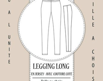 Leggings with sewing pattern side