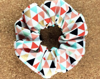 Hair scrunchie peach mint black coral gold triangles, elastic ponytail holder, chouchou shushu scrunchy, teen women girl child scrunchies