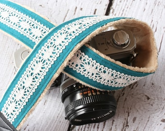 dSLR Camera Strap - Teal Linen and Lace - Padded Camera Strap - Nikon Canon Camera Strap - Cute Camera Strap
