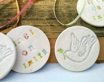 Peace Dove Christmas Ornament, Ceramic Ornament, Peace on Earth