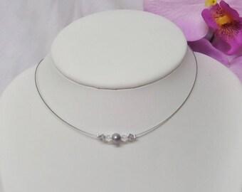 Wedding Choker grey pearls, swarovski pearls