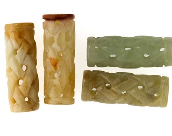 Carved rainbow Hsiu Jade carved and pierced cylinder bead 30X12mm package of 2. b4-ser485(e)(e)