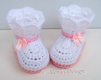 Crochet Booties Pattern - Crochet Pattern 165 - Booties Crochet Pattern - Lace Top Booties Baby Booties Pattern Slipper Pattern Newborn