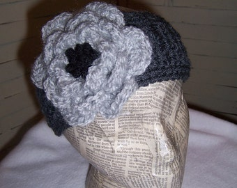 Large Rose Headband...Button in the Back...Grey and Black