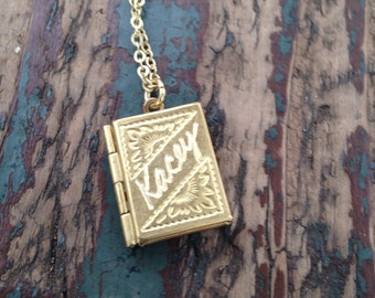 Customized Name  Book Locket...Lovely Vintage Brass Locket with Your Name or  Any Word Hand-Engraved for Free