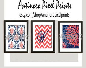 Personalized Coral Navy Floral Vintage / Modern inspired  Art Prints Collection  -Set of (3) - 8x10 Prints -   (UNFRAMED)