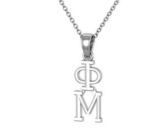 Phi Mu Necklace Sterling Silver / Phi Mu Lavalier / Big Little Gift / Sorority Jewelry /Phi Mu Gifts