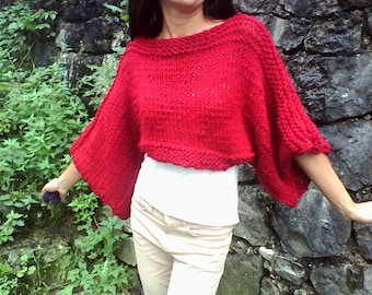 SALE Soft and cozy sweater /  dark red sweater / cropped sweater / handknit sweater/ women Sweater/